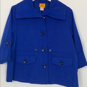 Ruby Rd. 14P royal blue blazer with black buttons